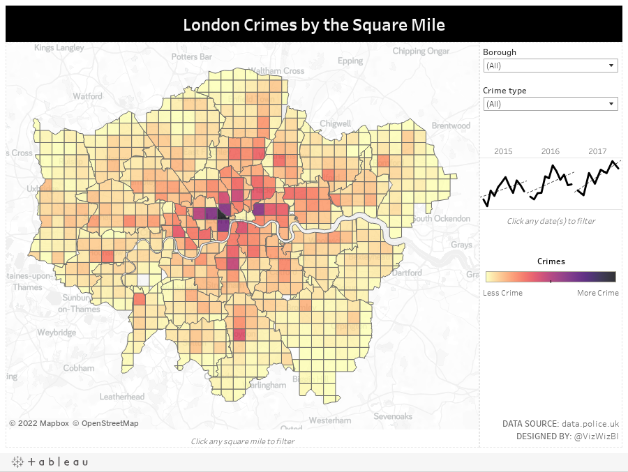 London Crimes by the Square Mile