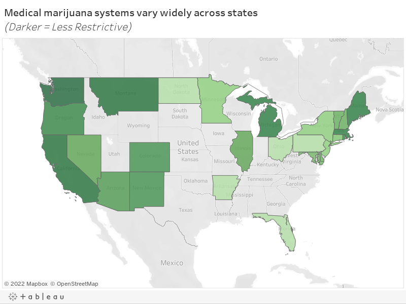 Medical marijuana systems vary widely across states(Darker = Less Restrictive)