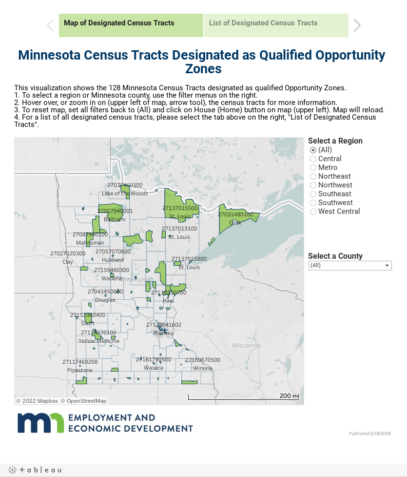 Designated Census Tracts for Opportunity Zones / Minnesota ... on