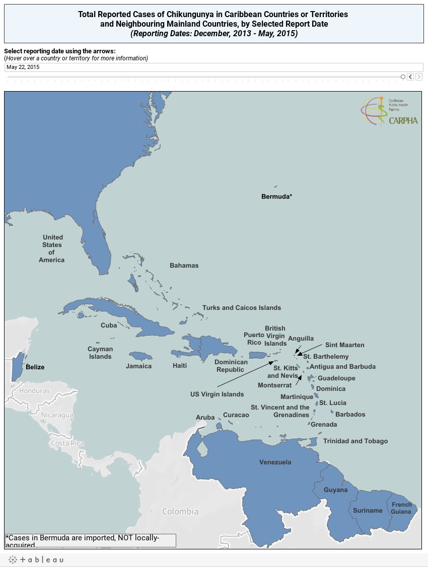 Reported Cases of Chikungunya in Caribbean Countries or Territories and Neighbouring Mainland Territories