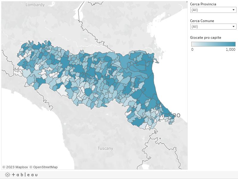 Mappa giocate pro capite comuni dell'Emilia Romagna