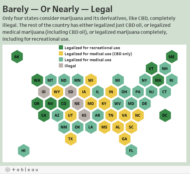 Barely — Or Nearly — Legal Only four states consider marijuana and its derivatives, like CBD, completely illegal. The rest of the country has either legalized just CBD oil, or legalized medical marijuana (including CBD oil), or legalized marijuana comple