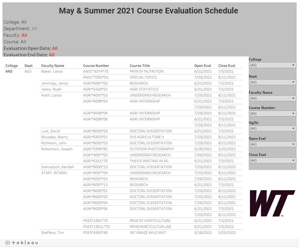 Course Evaluation Schedule