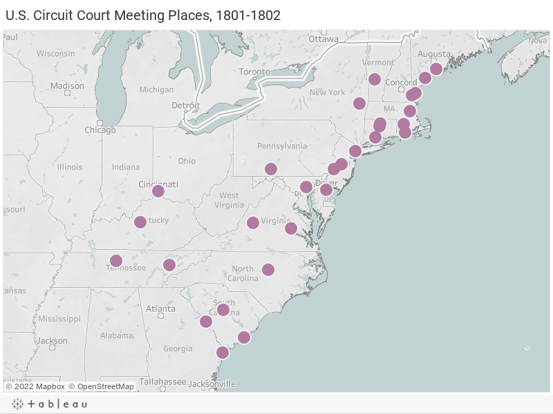U.S. Circuit Court Authorized Meeting Places, 1801-1802
