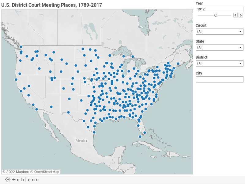 U.S. District Court Authorized Meeting Places, 1789-2017