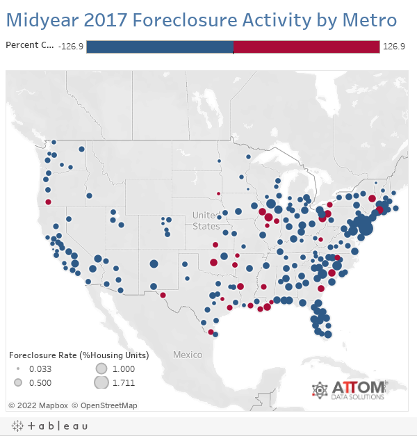 Midyear 2017 Foreclosure Activity by Metro