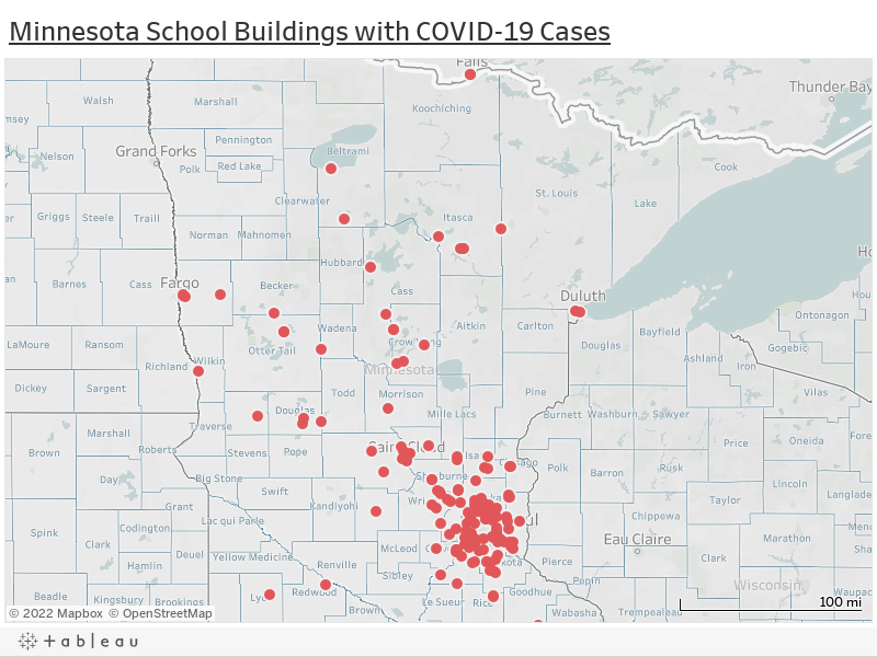 Minnesota School Buildings with COVID-19 Cases