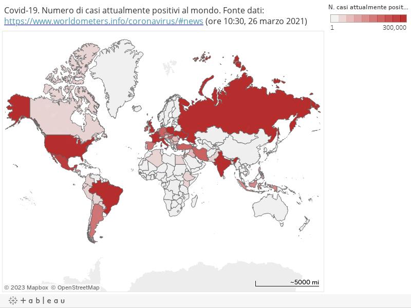 Covid-19. Numero di casi attualmente positivi al mondo. Fonte dati: https://www.worldometers.info/coronavirus/#news (ore 10:30, 26 marzo 2021)