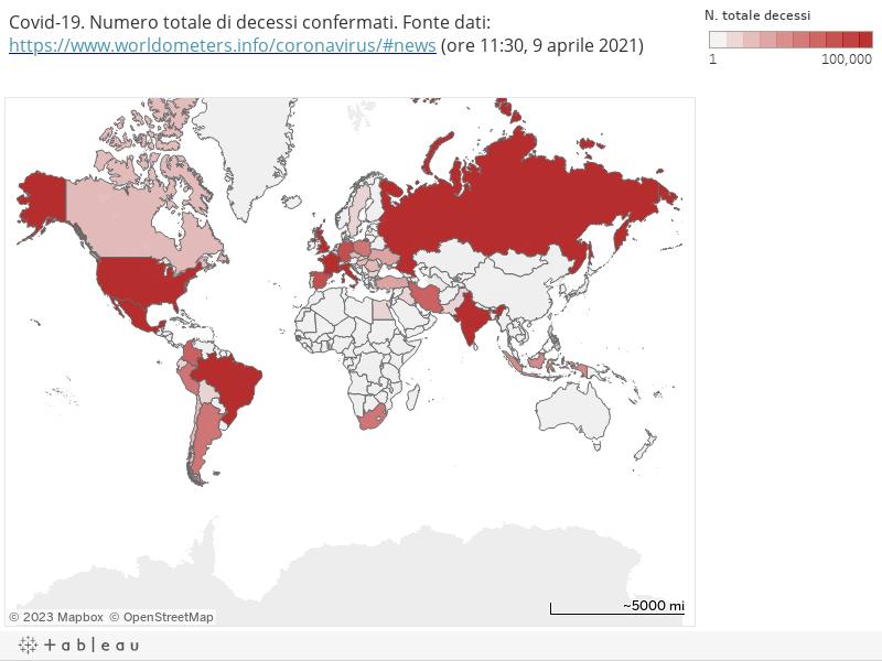 Covid-19. Numero totale di decessi confermati. Fonte dati: https://www.worldometers.info/coronavirus/#news (ore 11:30, 9 aprile 2021)