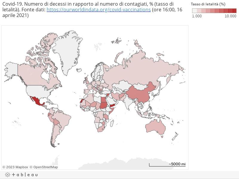 Covid-19. Numero di decessi in rapporto al numero di contagiati, % (tasso di letalità). Fonte dati: https://ourworldindata.org/covid-vaccinations (ore 16:00, 16 aprile 2021)