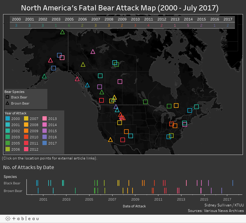 North America's Fatal Bear Attack Map (2000 - 2017)
