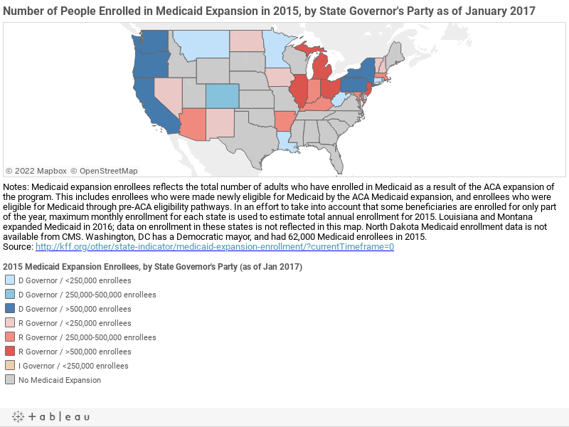 Number of People Enrolled in Medicaid Expansion in 2015, by State Governor