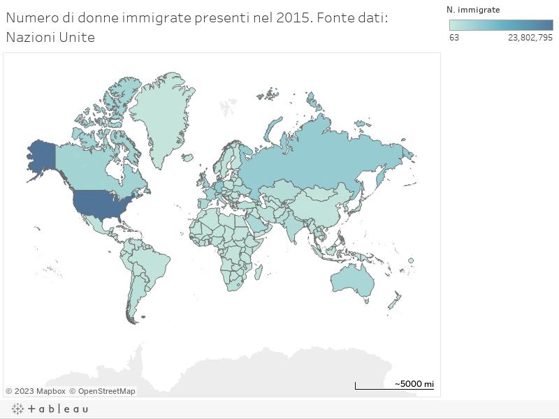 Numero di donne immigrate presenti nel 2015. Fonte dati: Nazioni Unite