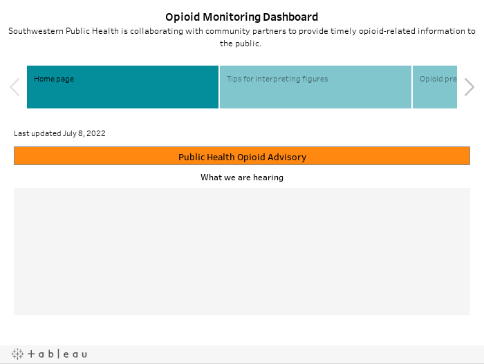 Opioid Monitoring DashboardSouthwestern Public Health is collaborating with community partners to provide timely opioid-related information to the public.