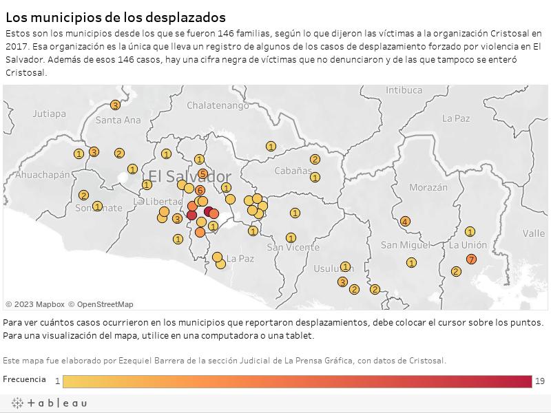 Los municipios de los desplazadosEstos son los municipios desde los que se fueron 146 familias, según lo que dijeron las víctimas a la organización Cristosal en 2017. Esa organización es la única que lleva un registro de algunos de los casos de desplazam
