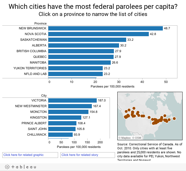 Which cities have the most federal parolees per capita? Click on a province to narrow the list of cities