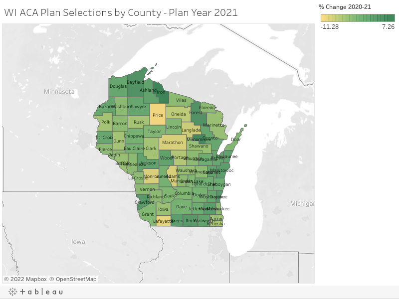 WI ACA Plan Selections by County - Plan Year 2021