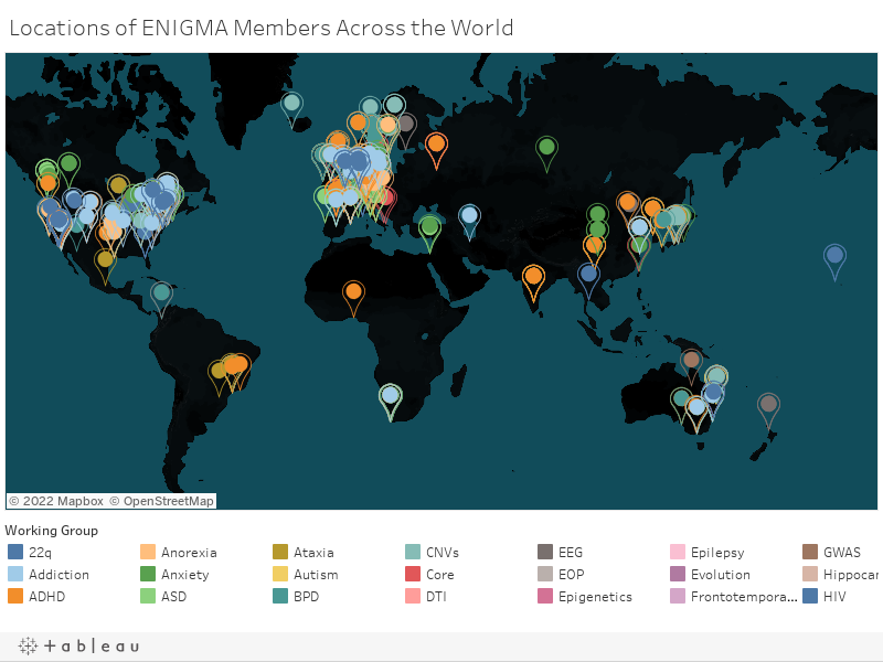 Locations of ENIGMA Members Across the World