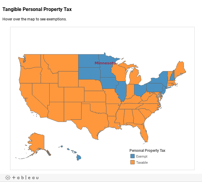 Tangible Personal Property TaxHover over the map to see exemptions.