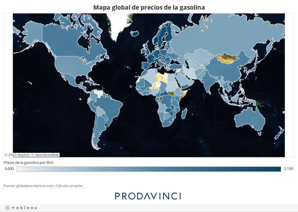 Mapa global de precios de la gasolina