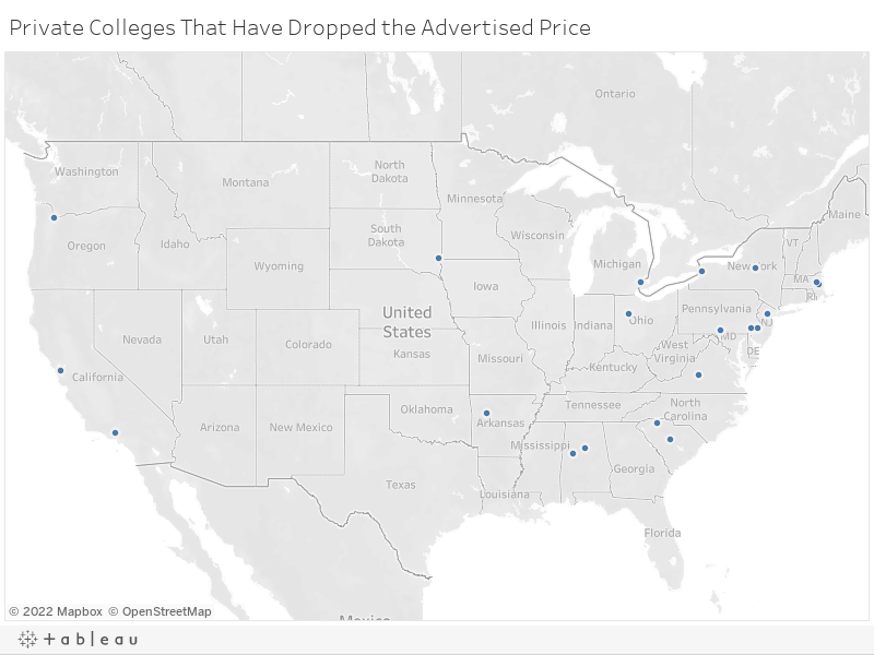 Private Colleges That Have Lowered Tuition Prices Over The Last 5 - Us-map-of-colleges