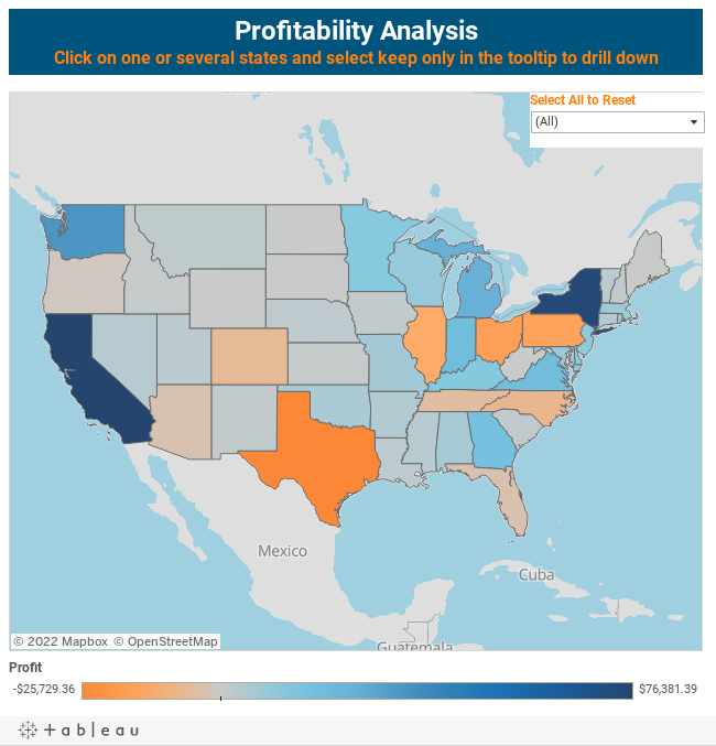 Profitability AnalysisClick on one or several states and select keep only in the tooltip to drill down