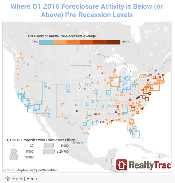 Where Q1 2016 Foreclosure Activity is Below (or Above) Pre-Recession Levels