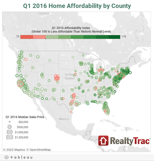 Q1 2016 Home Affordability by County