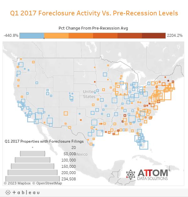 Q1 2017 Foreclosure Activity Vs. Pre-Recession Levels