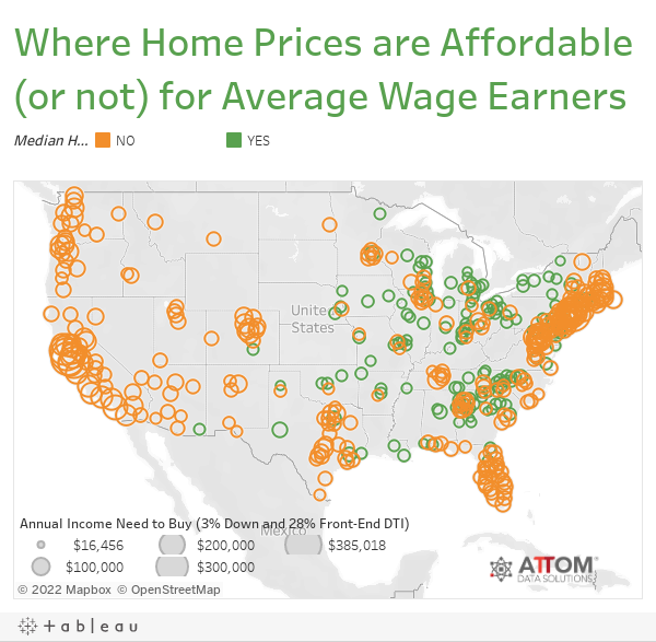 Where Home Prices are Affordable (or not) for Average Wage Earners