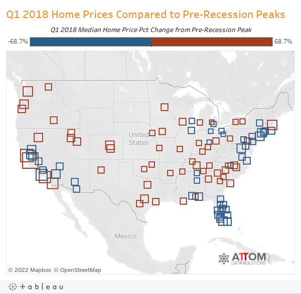 Q1 2018 Home Prices Compared to Pre-Recession Peaks