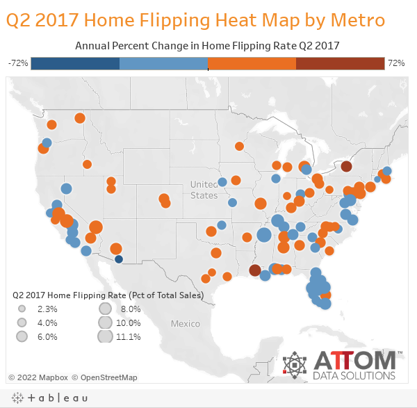 Q2 2017 Home Flipping Heat Map by Metro