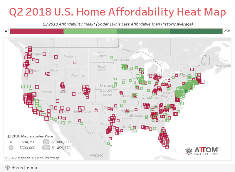 Q2 2018 U.S. Home Affordability Heat Map