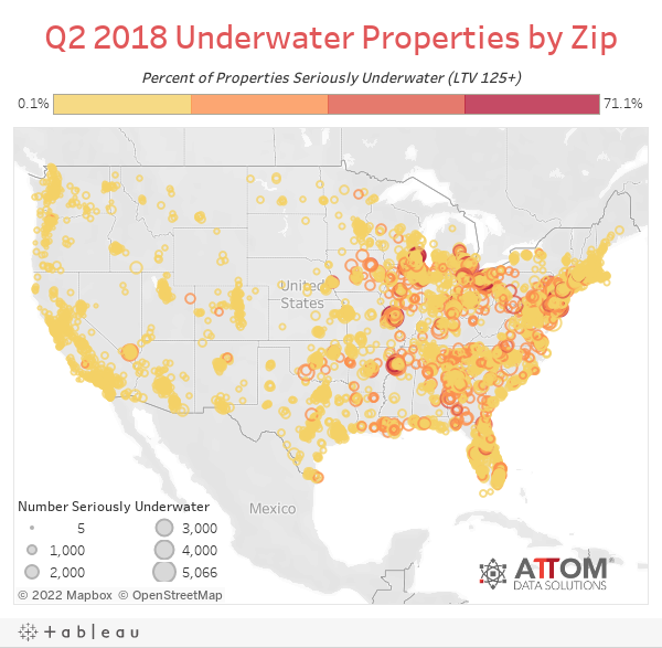 Q2 2018 Underwater Properties by Zip