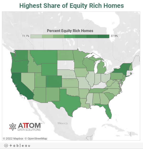 Highest Share of Equity Rich Homes