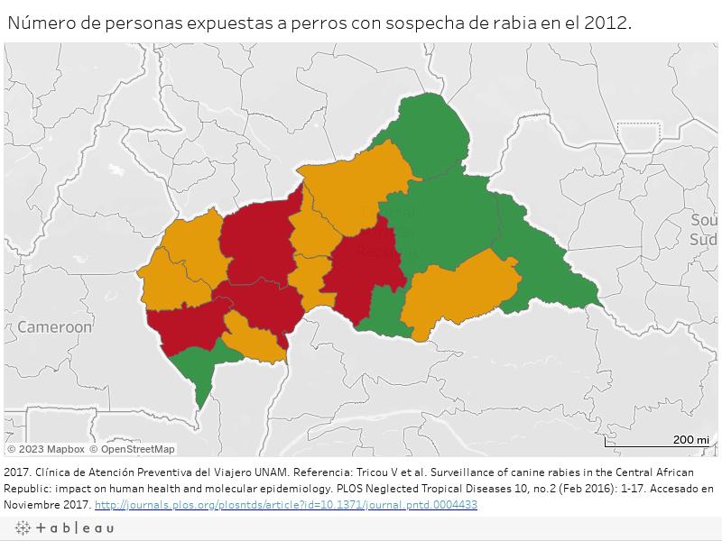 Número de personas expuestas a perros con sospecha de rabia en el 2012.