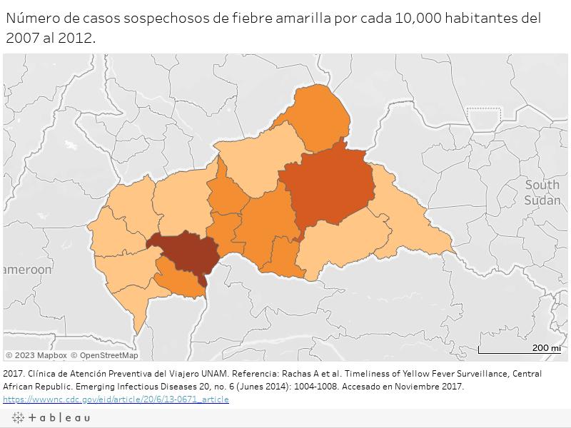 Número de casos sospechosos de fiebre amarilla por cada 10,000 habitantes del 2007 al 2012.