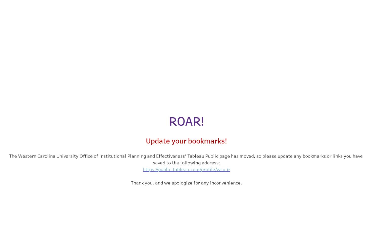 Roar We Moved Tableau Public