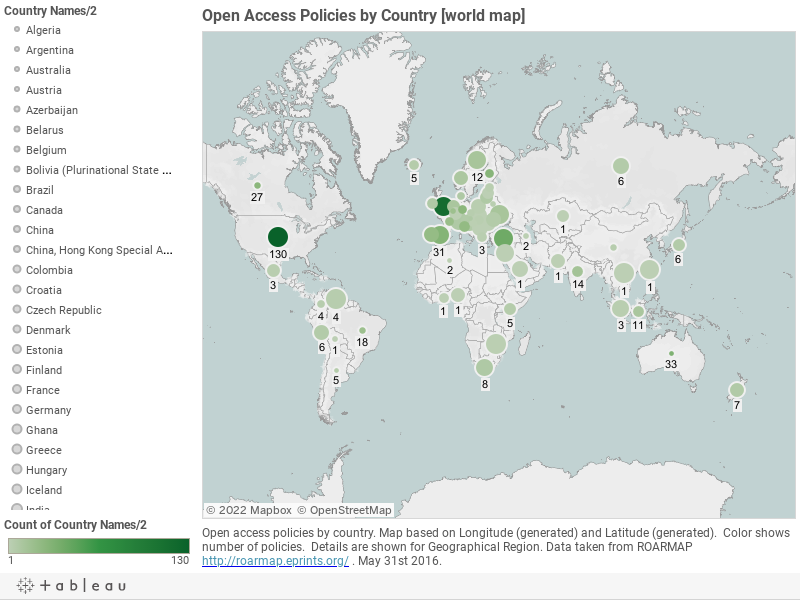 Open Access Policies by Country [world map]