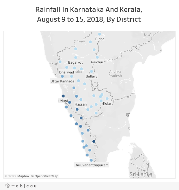 Rainfall In Karnataka And Kerala, August 9 to 15, 2018, By District