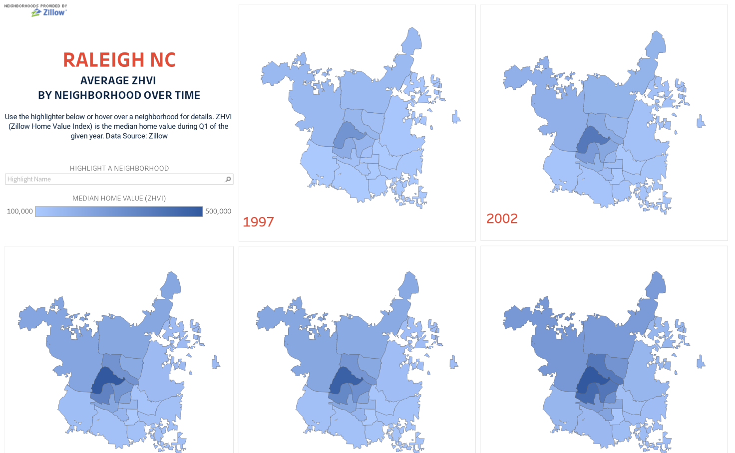 Raleigh, NC Median Home Values over Time - David Staples | Tableau on