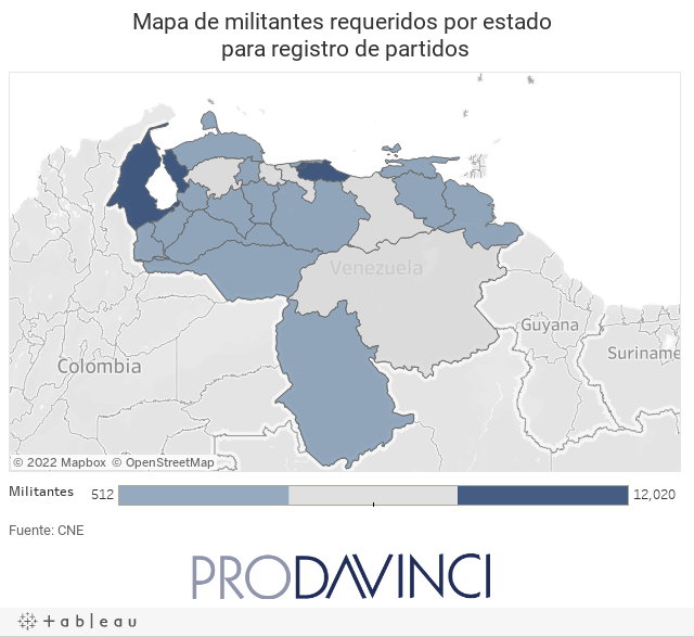 Mapa de militantes requeridos por estado para registro de partidos