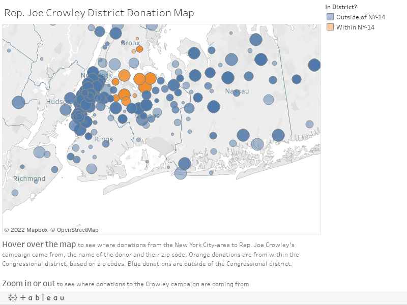 Rep. Joe Crowley District Donation Map