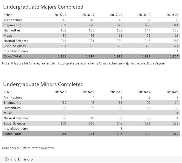 Undergraduate Majors Completed