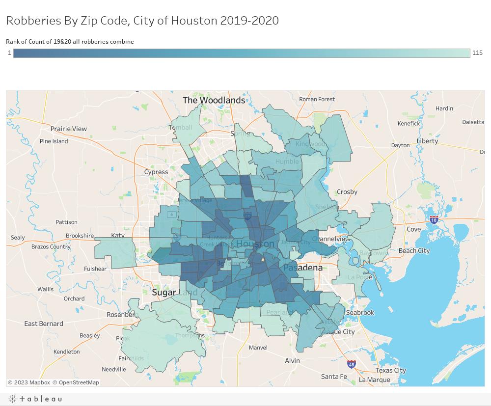 Robberies By Zip Code, City of Houston 2019-2020