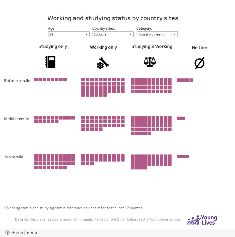 Working and studying status by country sites