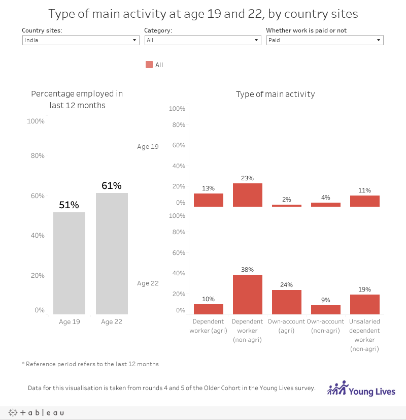 Type of main activity at age 19 and 22, by country sites