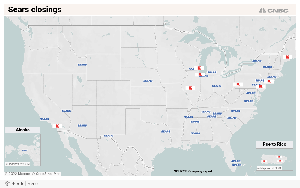 This map shows where Sears is closing stores next Chicago Ridge Mall Map on