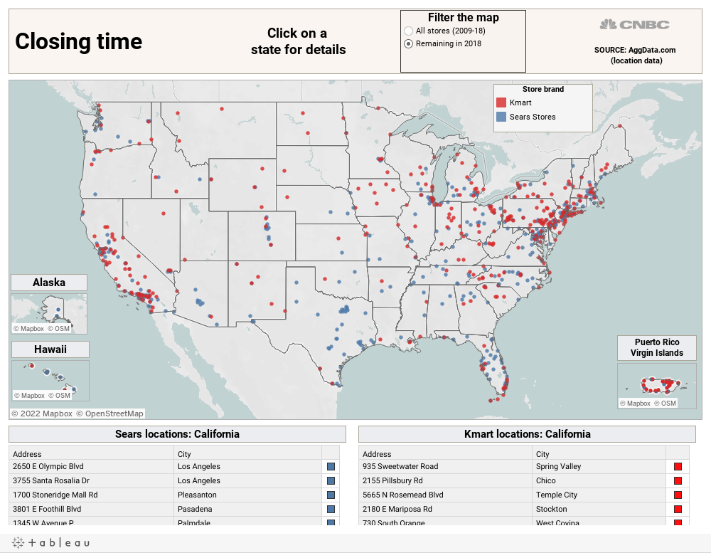 This map shows all the locations Sears once operated and what\'s left