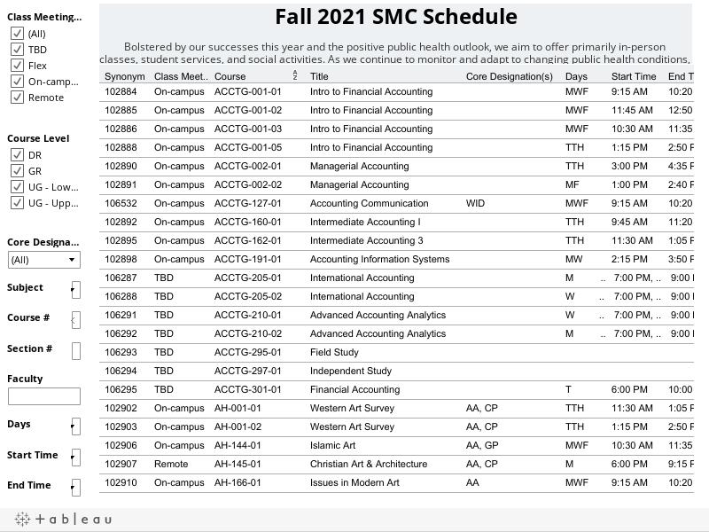 SMC Fall 2021 Schedule